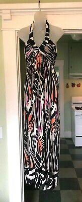 Donna Morgan Halter Maxi Dress MOD 70s style summer empire 8 Black White CUTE