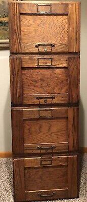 Vtg Antique Wood Filing Cabinet Globe Wernicke Oak Modular Stackable
