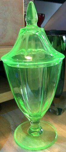 Depression Colonial Jar & Finial Lid Green Uranium Glass Maker Unknown