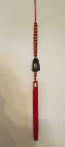 """Red Chinese Knot Medallion & Etched Brass Ornament 42"""" long"""