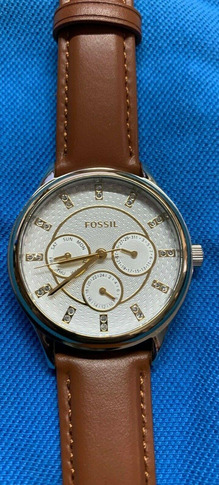 Fossil BQ3408 Damenuhr Armbanduhr Neu Leder braun Chronograph Edelstahl Leder