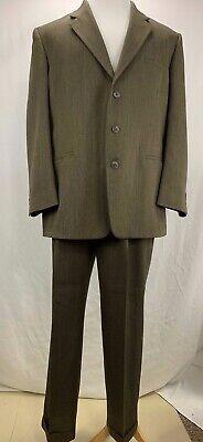 J Ferrar Custom Fit Suits Mens Brown Blazer Jacket 44R Slacks Pants 33x29 Custom Fit Three Button Suit