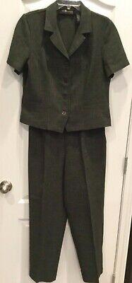 Sag Harbor Womens Pant Suit Size 12 P Green Lightweight Short Sleeve Side Zip 67