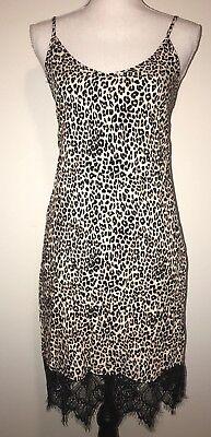 SHIFT Short Slip Dress Small Large Cheetah Print Black Lace Bottom