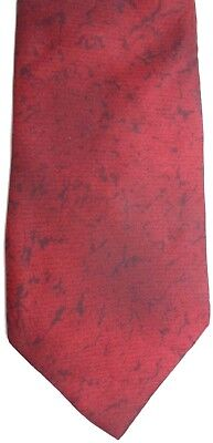 Younkers Mens Silk Tie 57 5  X 3 75  Dark Red Black Abstract