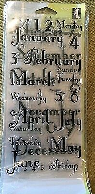 Inkadinkado Clear Stamps Months and Days Calendar Acrylic Stamp Set ~ NEW