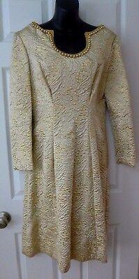 60's Designer Vintage Gold Brocade Pearls Cream Dress L 14](Brocade Dress Designs)
