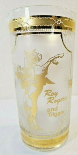 ORIGINAL VINTAGE FROSTED GLASS - ROY ROGERS AND TRIGGER