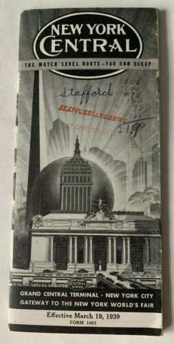 Vtg 1939 New York Central Railroad Timetable Booklet brochure Grand Central NYC