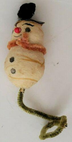 Vintage Spun Cotton Christmas MIniature Snowman Figure Tree Ornament
