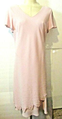Pink Maxi Dress Short Sleeves Size 16 Scalloped Crystal Beading-S L Fashion