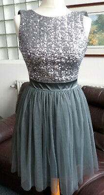 PRETTY LIPSY LONDON SEQUIN SILVER GREY LOW BACK MINI TUTU MESH DRESS SIZE UK 8
