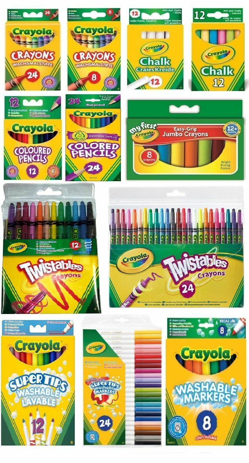 Crayola Crayons Supertips Twistables DryErase Markers Pencils Felt ...