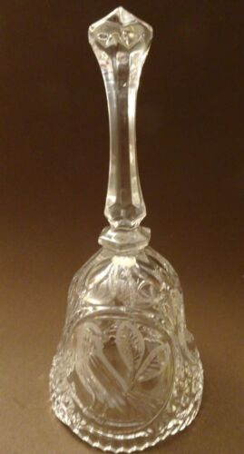 """LEAD CRYSTAL 8"""" BIRDS W/FROSTED ETCHING BELL,EXCELLENT CONDITION"""