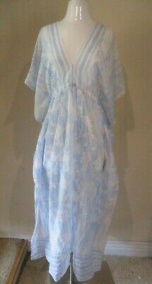 OSCAR DE LA RENTA baby blue white floral Kaftan pullover cover up dress M