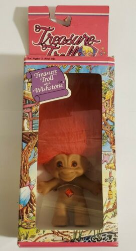 Treasure Troll Doll With Red Wishstone & Red Hair Ace Novelty In Original Box