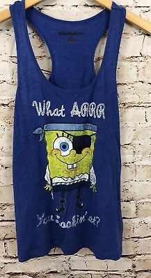 Forever 21 Spongebob Tank Top womens large Blue pirate What r u looking at B5