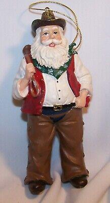 Cowboy Santa Ornament-Horse Saddle-Resin-Brown Red, Blue Chaps-New Blue Santa Ornament