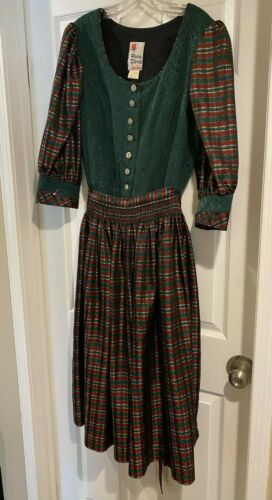 German Octoberfest*Christmas ROSE DIRNDL DRESS~ M/EU 44~Apron*Green*Red Plaid