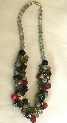 Ancien collier en perle de verre multicolore