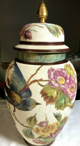 Exquisite Antique Royal Bonn Hand Decorated Covered Urn Bird, Floral & Butterfly