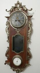 Antique French Large Wall Clock Barometer Cast Bronze Applique Girl Helenistic