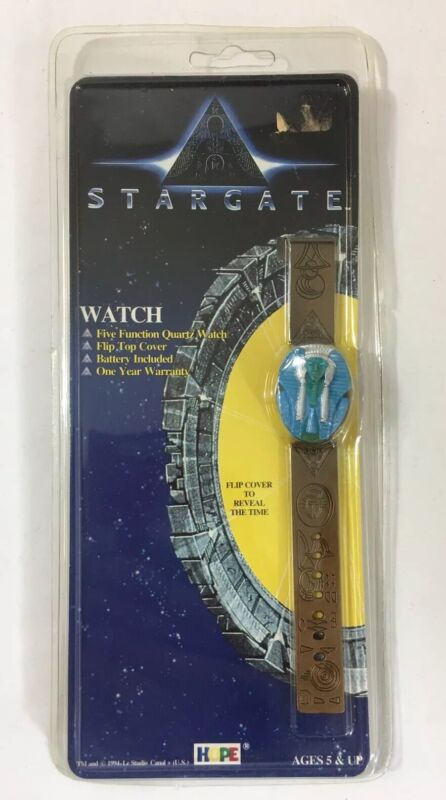 Stargate Pharaoh Watch Flip Top Cover Bronze Color Band Egyptian Vintage 1994