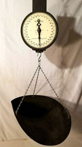 Vintage American Family Scale Co. Mercantile Hanging 60 lb.Scale