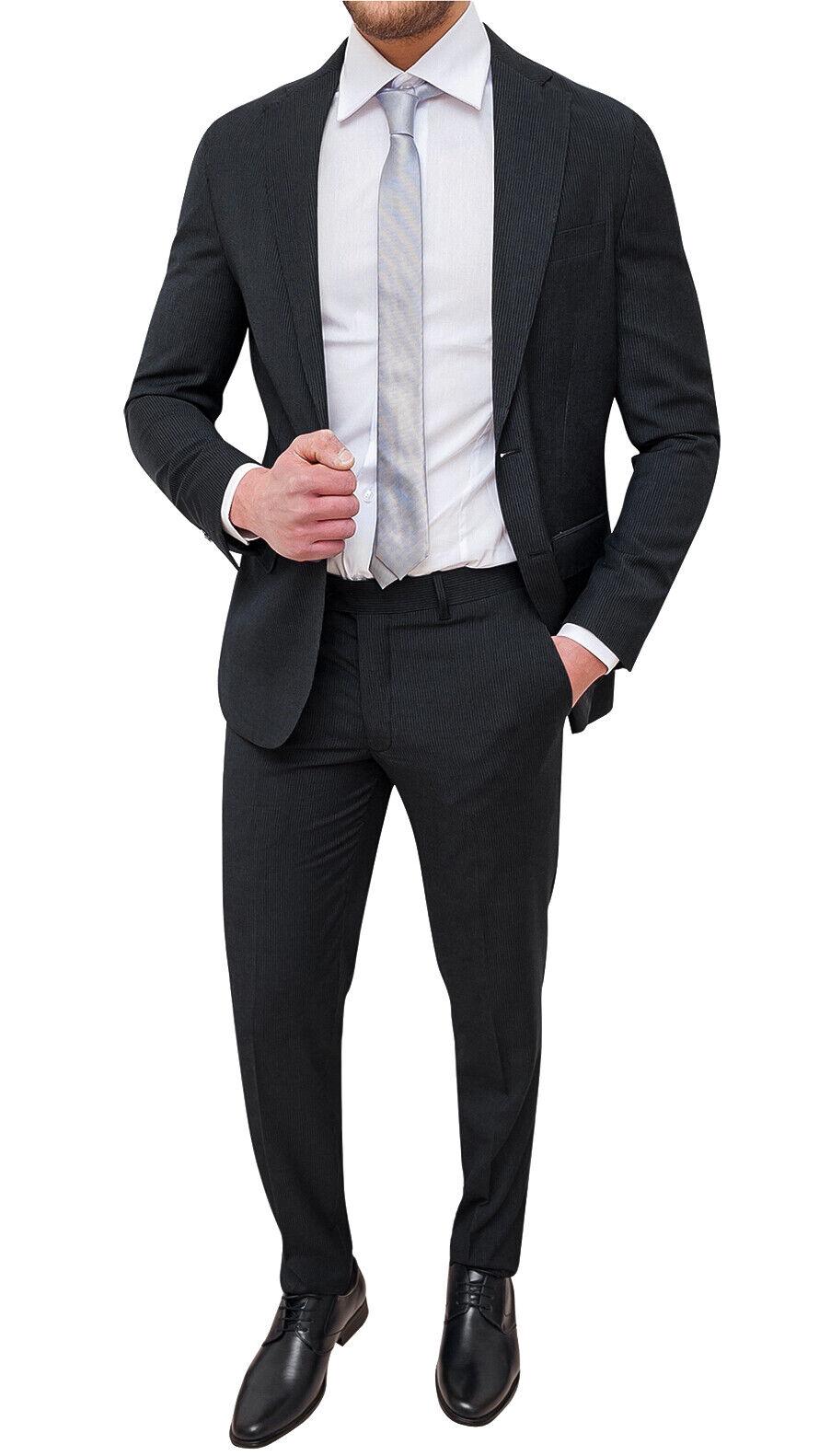 Vestiti Eleganti Uomo.Abito Completo Uomo Sartoriale Nero A Righe Vestito Gessato