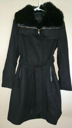 womens NEW FRENCH CONNECTION BLACK WINTER LONG COAT DRESSY WEAR FUR COLLAR MEDIU