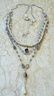 Tanzanite Moonstone Amethyst Pearl Sterling Silver Chain Necklace Sundance