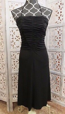 MODA INTERNATIONAL Stretchy Bodycon Ruched Black Halter Cocktail Dress 4 SM ()
