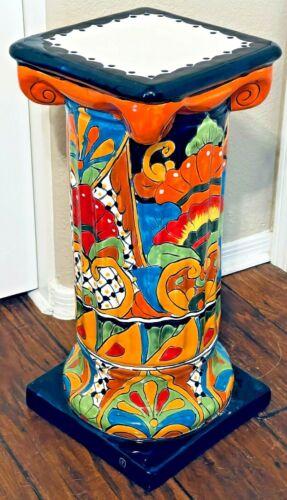 "Mexican Talavera Pottery Planter Pedestal Stand Column Pillar Large 20"" Folk Art"