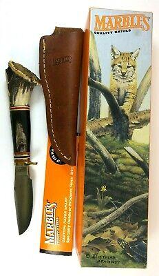Marbles Trailcraft Knife Buffalo Handle Crown Stag Vintage + Sheath Box 5185-LLT