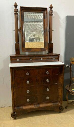 Vintage Marble Top, Wooden Dresser w/ Mirror