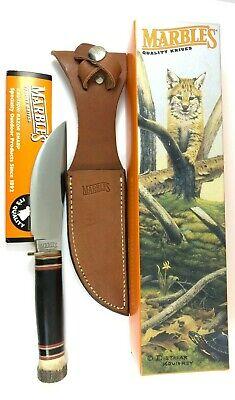Marbles Woodcraft Knife Buffalo Handle Stag Pommel Vintage + Sheath Box 5183-LLT