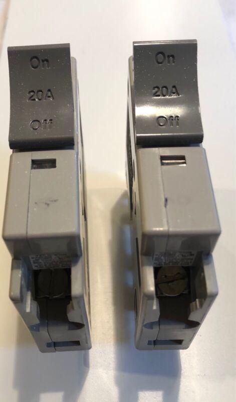 2 - Square D Trilliant 20 Amp Single Pole Type SDT120 Circuit Breakers