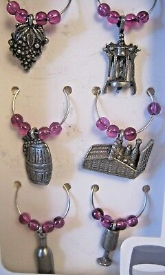 True Winery 6 Pewter Wine Charms New in the Box