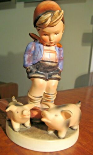"VINTAGE LARGE GOEBEL HUMMEL TMK-2 FULL BEE 6"" No. 66 FARM BOY WITH PIGS"