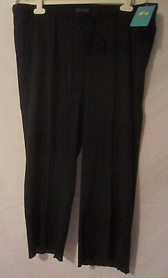 Sun Bay Black Waist Cord Lightweight Capri Pants Women's Size 1X  A184 - New NWT