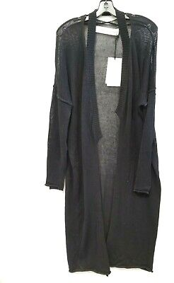 Isabel Benenato Deconstructed Knitted Coat BLACK Long knited Women sz 42