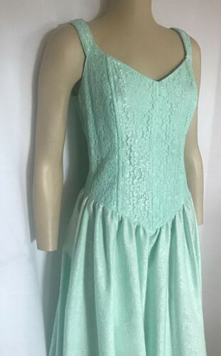 Mint Green Lace Bodice Dress with Drawstring Cinched Back, Med, Lg, XLg.
