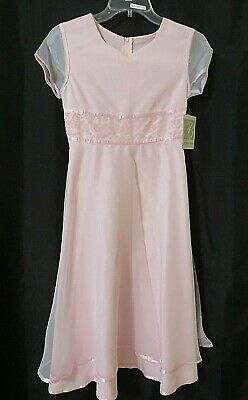 Bonnie Jean Dress Sheer Short Sleeve Glittery Bodice Details Pink Sz 12.5 #U9721