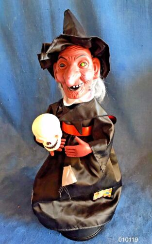 Vintage 1988 Halloween Witch Motionette Animated Figure Funny Toys 1988 Green Ey