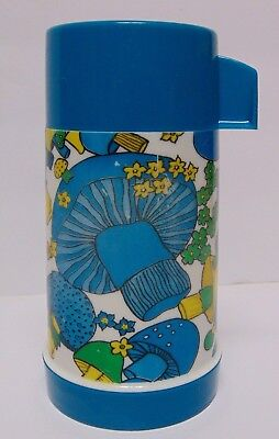 Vintage 1970s BLUE MUSHROOM THERMOS FOR ALADDIN LUNCHBOX psychedelic pot head
