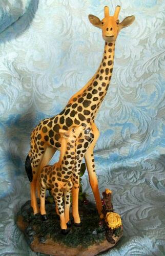 "Giraffes hand painted resin Figurine Statue 10"""