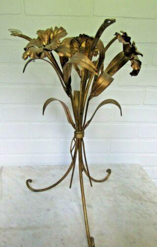 Vintage Italian Gold Gilt Flower Leaf Tole Side End Table Hollywood Regency