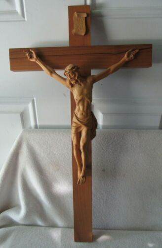 ANRI ITALY WOOD CARVING JESUS CHRIST CROSS CRUCIFIX IN RI 19 3/4 X 11 Detailed
