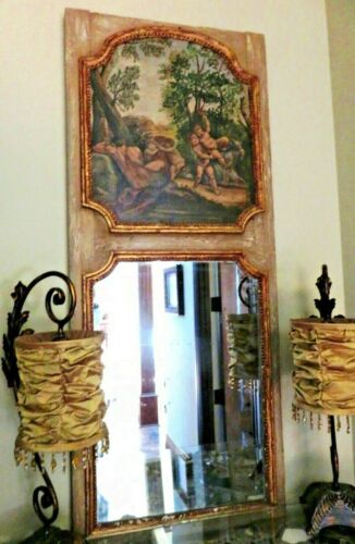 "Antique French Trumeau Mirror 61"" & Canvas Oil Painting Satyr Nymph"