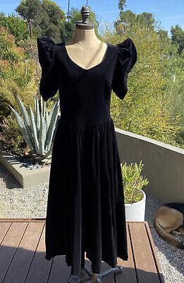 80s Dresses | Casual to Party Dresses VINTAGE 1980s Laura Ashley Black Velvet Puff sleeve pleated Regency Sz 14 Dress $95.00 AT vintagedancer.com